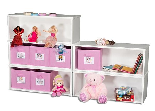 Spielzeugregal KINTObox 5er Kombi, mit rosa Stoffboxen / SALTO Kindermöbel, München