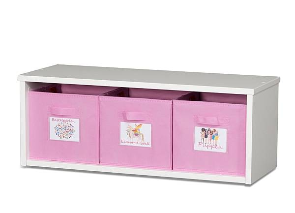 Spielzeugregal KINTObox mit rosa Stoffboxen / SALTO Kindermöbel, München