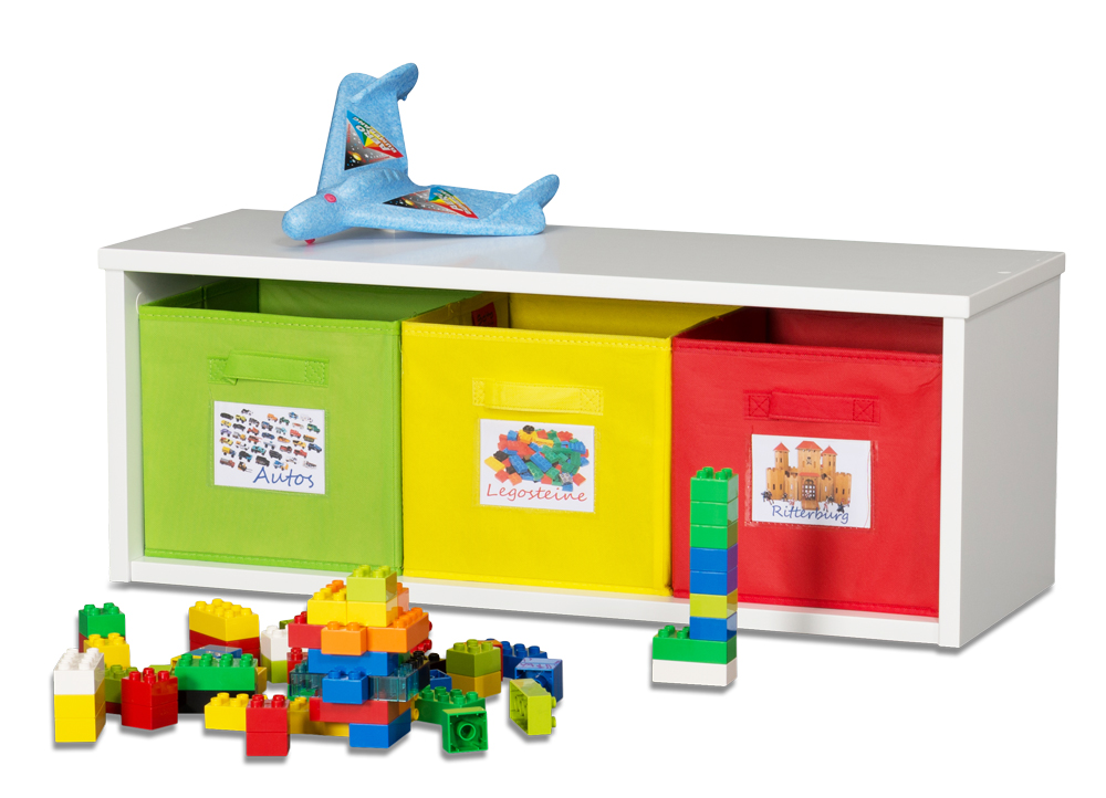 Spielzeugregal KINTObox mit bunten Stoffboxen / SALTO Kindermöbel,