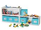 Spielzeugregal KINTObox 3er Kombi, mit blauen Stoffboxen / SALTO Kindermöbel, München