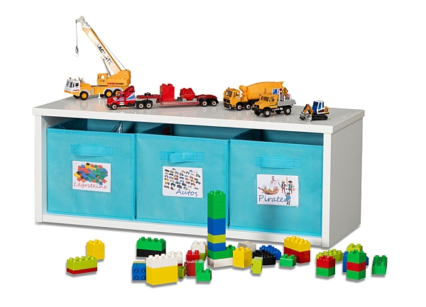 Spielzeugregal KINTObox mit blauen Stoffboxen / SALTO Kindermöbel, München
