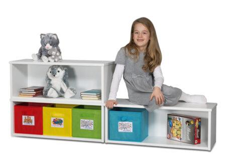 Spielzeugregal KINTObox 3er Kombi mit bunten Stoffboxen / SALTO Kindermöbel,