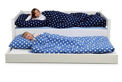 weiß lackiertes Kinderbett KINTO mit Gästebett / SALTO Kindermöbel / München