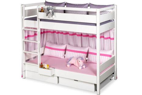 Kinderbett Etagenbett KINTO aus weiß lackiertem Holz, mit Schubladen