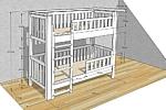 Kinderbett LISTO, weiß lackiertes Etagenbett CAD