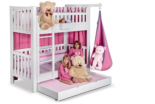 Kinderbett LISTO, weiß lackiertes Etagenbett mit Gästebett