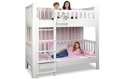 Kinderbett LISTO, weiß lackiertes Etagenbett aus massivem Buchenholz