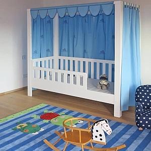 Kinderbett LISTO-flex, Himmelbett aus weiss lackiertes Buchenholz