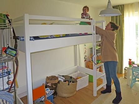 Kinderbett Hochbett KINTO aus weiß lackiertem Holz