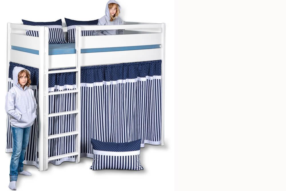Etagenbett Mit Schutz : Kinto: das weiße hochbett mit vorhängen und hohem schutz rahmen