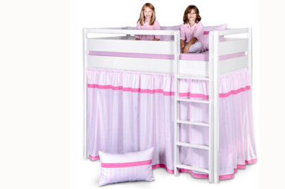 Kinderbett KINTO, weiß lackiertes Hochbett mit Vorhängen