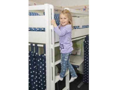 Kinderbett Hochbett-weiss-lackiert-Kinto