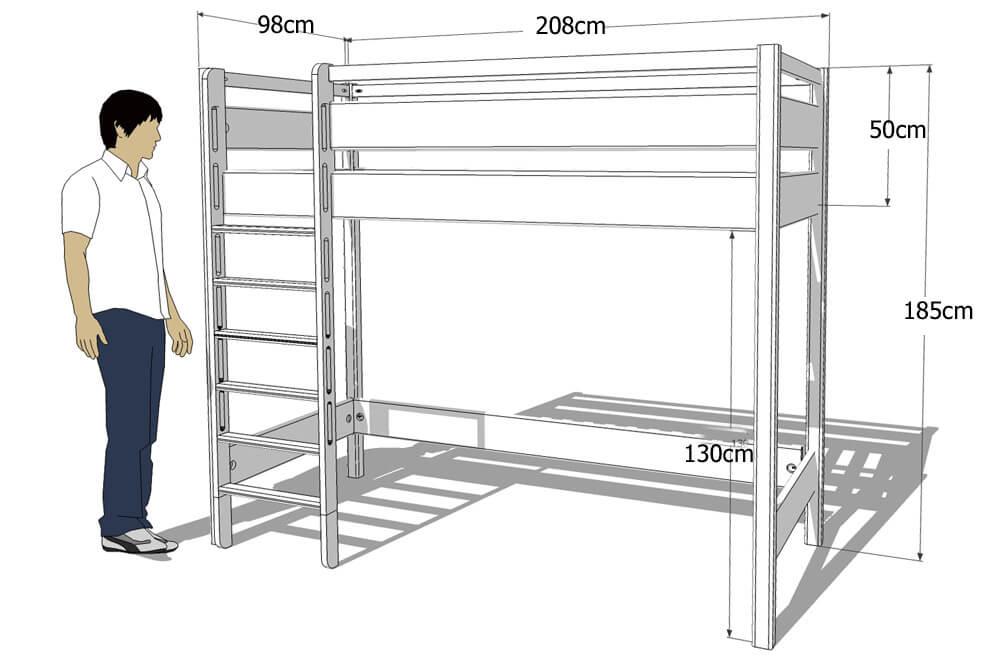 das wei lackierte hochbett kinto mit besonders hohen schutz rahmen. Black Bedroom Furniture Sets. Home Design Ideas