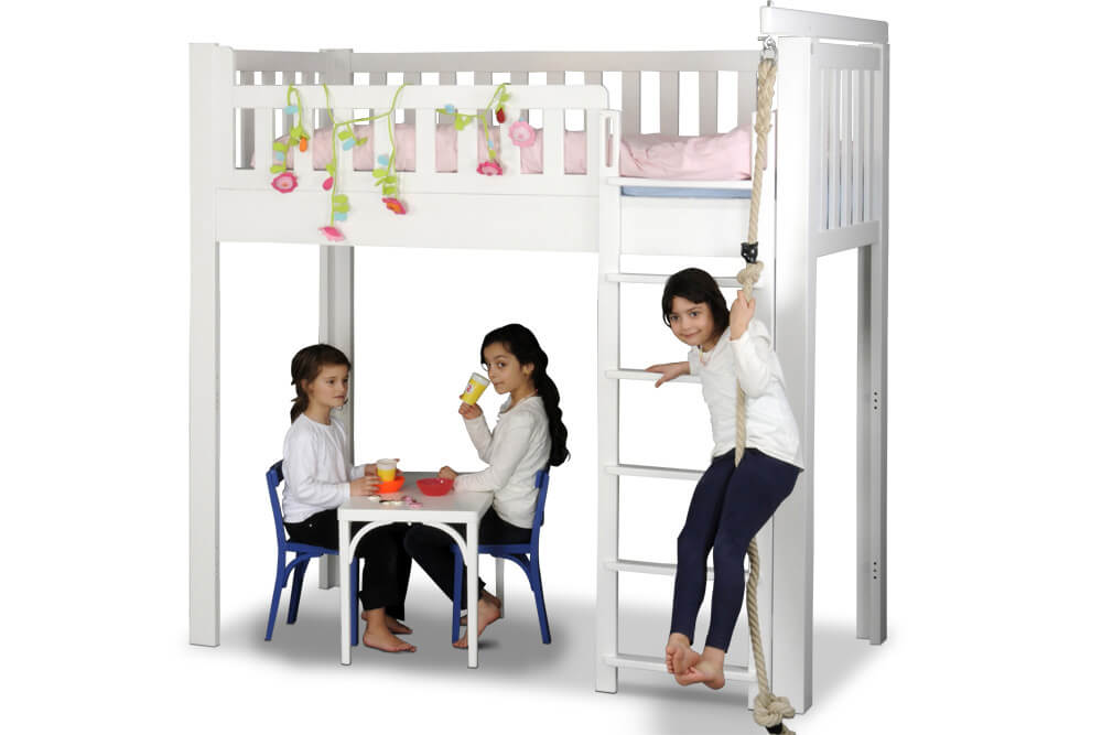 Kinderbett LISTO-flex, Hochbett aus weiss lackiertes Buchenholz