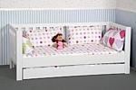 Kinderbett LISTO, mit Gästebett, weiss lackiertes Buchenholz