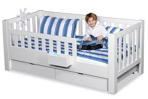 Kinderbett LISTO, mit Schubladen, weiss lackiertes Buchenholz