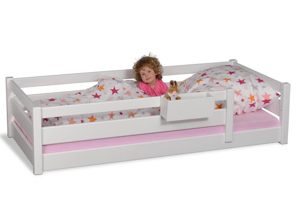 Kinderbett PICCO 180cm weiß lackiert, aus massivem Buchenholz