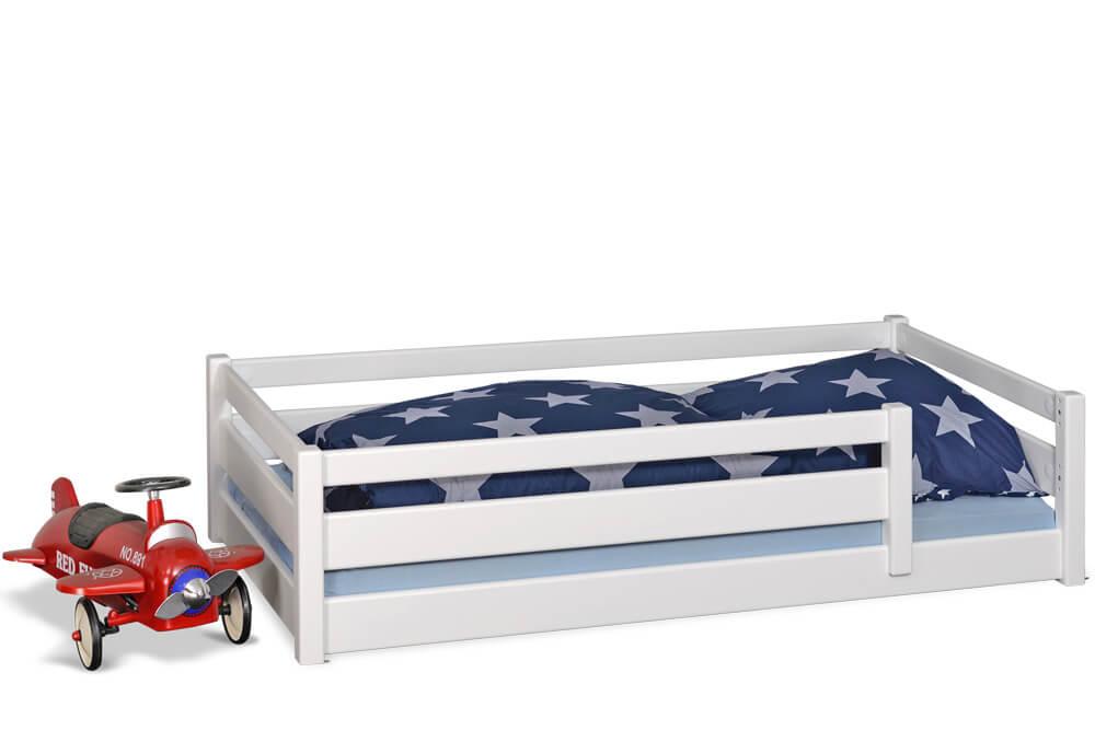 Kinderbett PICCO 180cm, weiß lackiert, aus massivem Buchenholz
