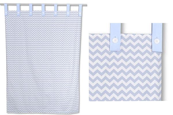 Kinderbett-Vorhang LISTO chevron blau