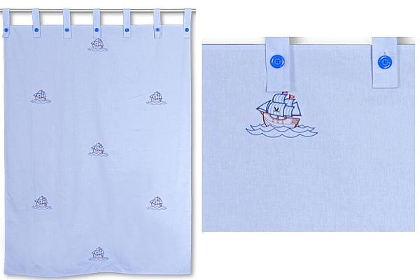 Kinderbett-Vorhang LISTO blau bestickt mit Segelschiffen