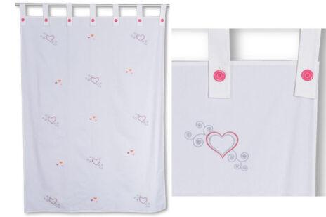 Kinderbett-Vorhang LISTO, weiß bestickt mit Herzen