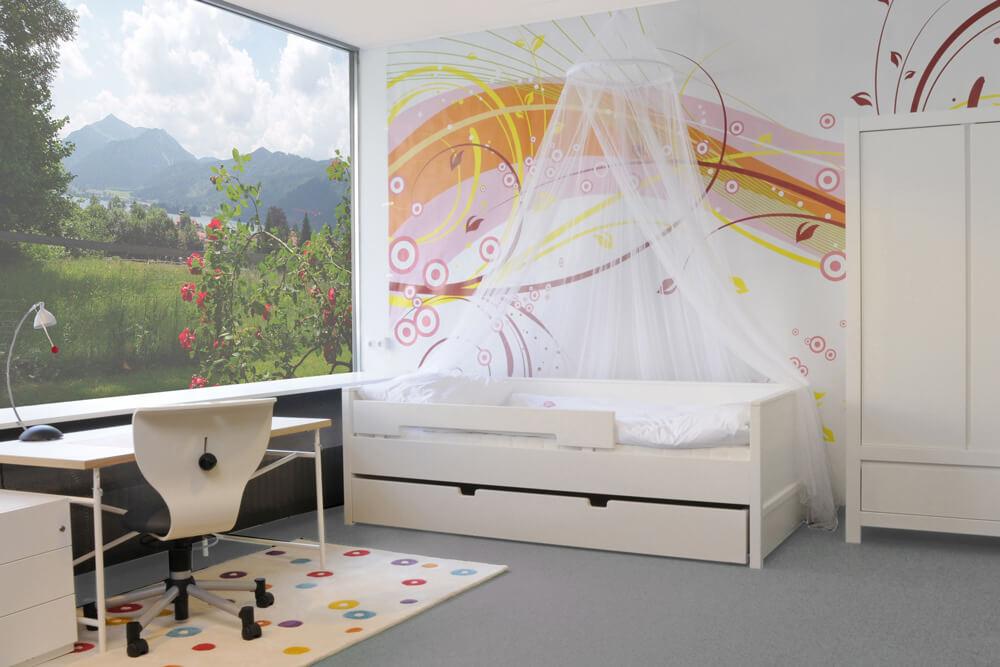 Kinderbett NESTBETT, mit Gästebett, weiss lackiertes Holz