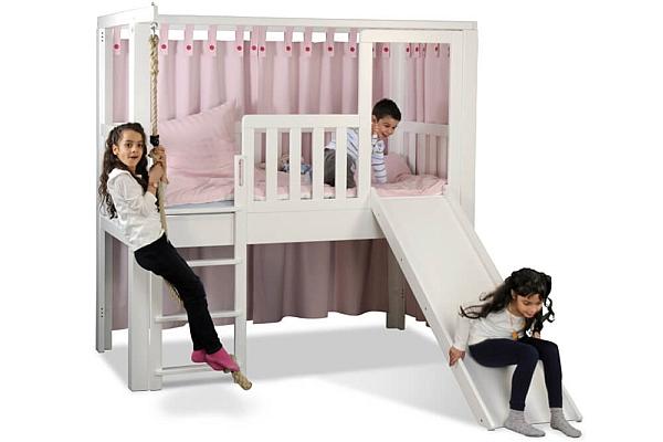 Kinderbett-Listo-mit-Rutsche-weiss