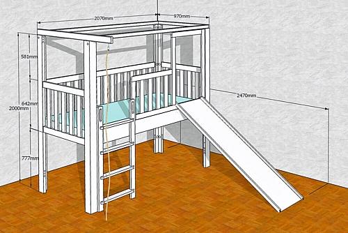 mitwachsendes Kinderbett LISTO-slide, mit Rutsche,CAD