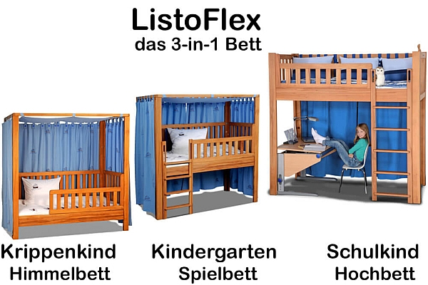mitwachsendes kinderbett listo flex wei lackiert. Black Bedroom Furniture Sets. Home Design Ideas