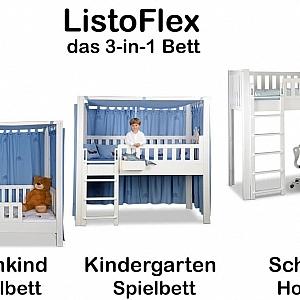Kinderbett picco 180cm wei aus dem himmelbett wird ein hochbett for Mitwachsendes kinderbett