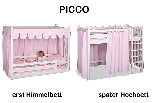 Kinderbett PICCO 180cm weiß-lackiert