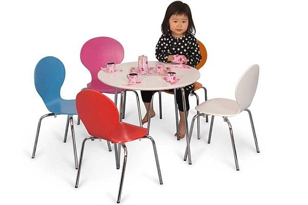 runder Kindertisch CLASSIC mit weiß lackierter Platte