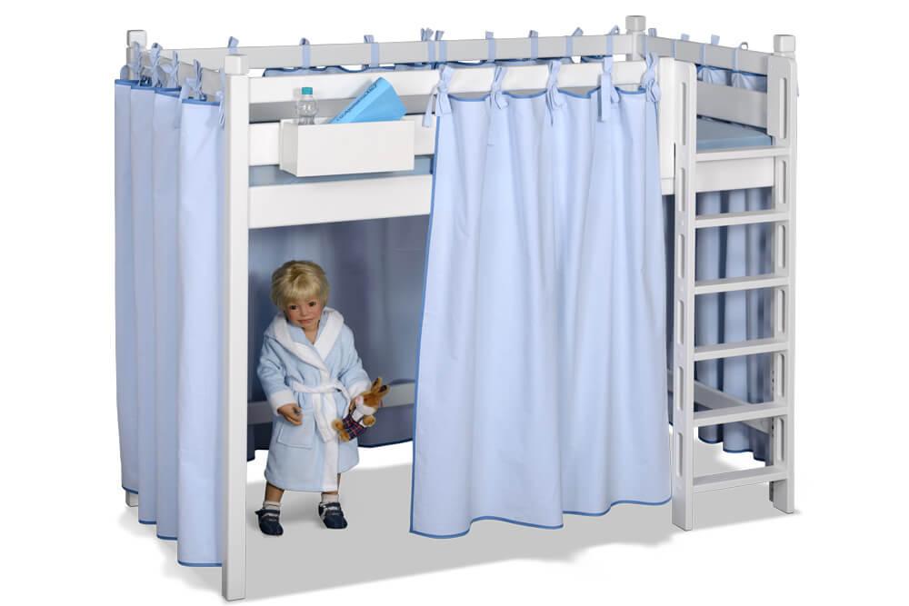 Kinderbett PICCO 180cm aus weiß lackiertem Buchenholz