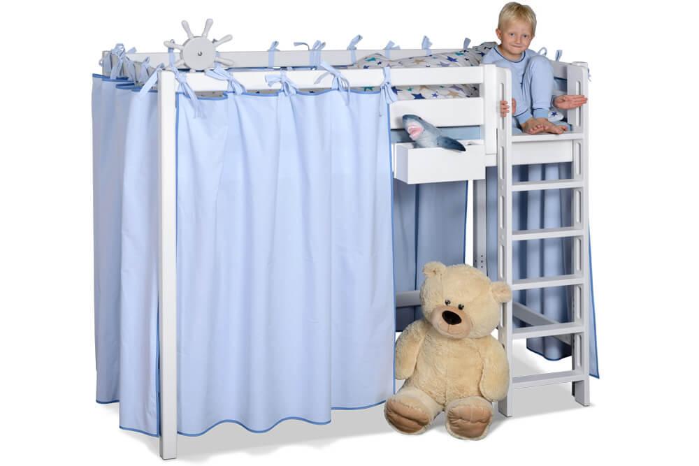 Hochbett PICCO 180cm, das mitwachsende Kinderbett aus weiß lackiertem Buchenholz