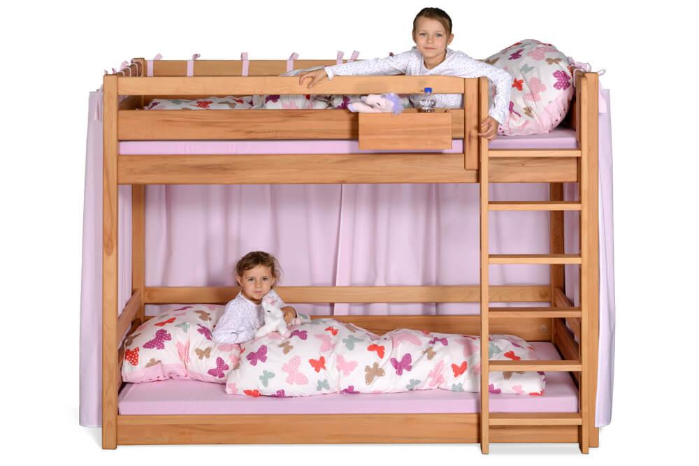 Etagenbett Baby : Etagenbett rosa weiß mit vorhang und lattenroste möbel