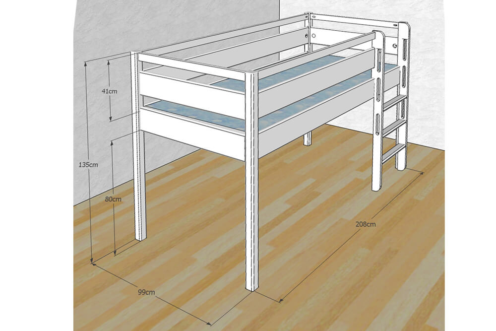 Kinderbett Hochbett-halbhoch Kinto, CAD