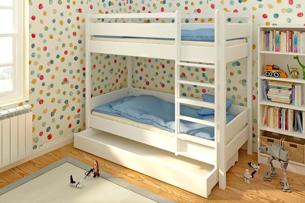 Das weiß lackierte Etagenbett Kinto mit Gästebett. Hersteller: SALTO - Möbel für Kinder München