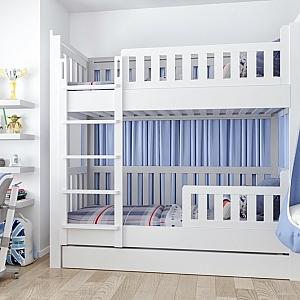 ISTO das Etagenbett aus weiß lackiertem Buchenholz / SALTO Kindermöbel in München