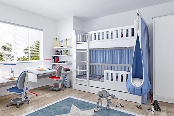 LISTO das Etagenbett aus weiß lackiertem Buchenholz / SALTO Kindermöbel in München