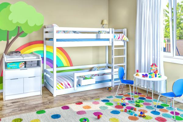 Etagenbett PICCO aus weiß lackiertem Buchenholz / Hersteller: SALTO - Möbel für Kinder in München