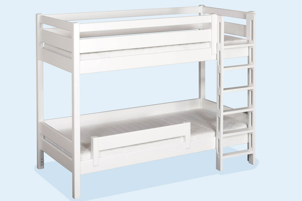 Etagenbett PICCO 180cm aus weiß lackiertem Buchenholz