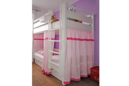 weiss lackiertes Etagenbett mit Vorhangset und Bettschubladen