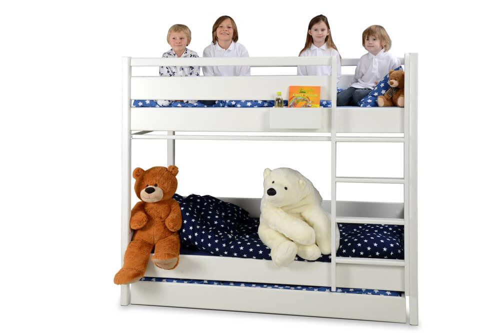 das weiß lackierte Etagenbett Kinto mit Gästebett
