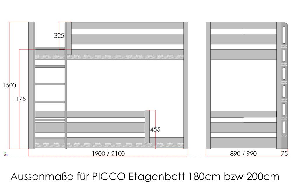 Etagenbett_PICCO_Maße / SALTO Kindermöbel München