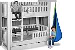 blauer Hängesitz als Zubehör zum Hochbett LISTO. Hersteller: SALTO Kindermöbel, München