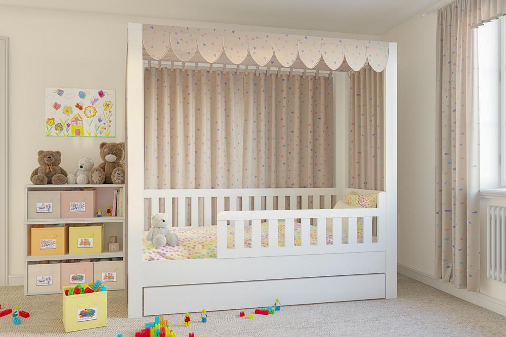 das mitwachsende Kinderbett LISTOflex, aufgebaut als Himmelbett / SALTO Kinderbetten in München