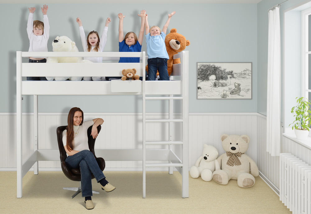 Das Weiß Lackierte Hochbett Kinto Mit Besonders Hohen Schutz Rahmen