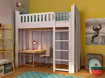 mitwachsendes Kinderbett LISTO / aufgebaut als Hochbett / SALTO Kindermöbel München