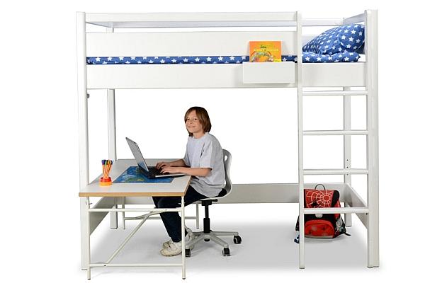 weiß lackiertes Hochbett KINTO mit Schreibtisch, Hersteller: SALTO Kindermöbel München