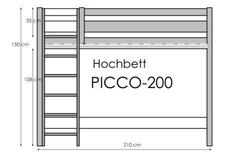 Hochbett Picco-200-mix aus massivem Buchenholz / SALTO Kindermöbel München